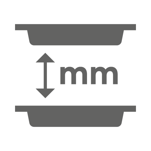 Space between trays (mm)